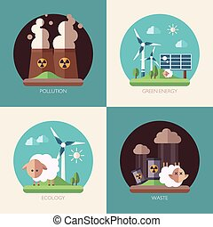 Modern flat design conceptual ecological illustrations