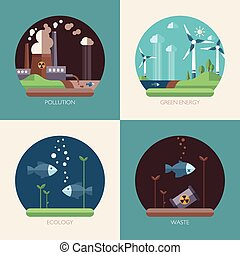 Modern flat design conceptual ecological illustrations