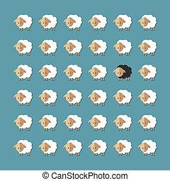 Modern flat design conceptual illustration with sheeps