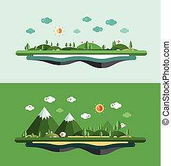 Modern flat design conceptual landscape illustration