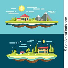 Modern flat design conceptual landscape illustration with buildi