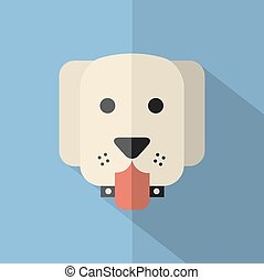 Modern Flat Design Dog Icon.