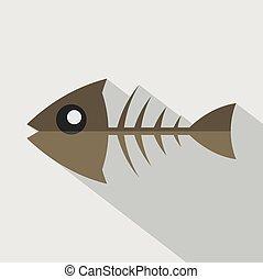 Modern Flat Design Fishbone Icon Vector Illustration