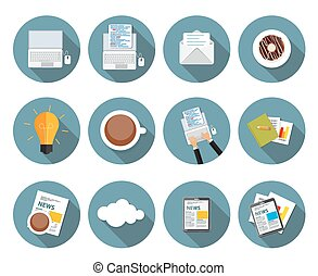 Modern Flat Design Icon Set for your Business Vector Illustration