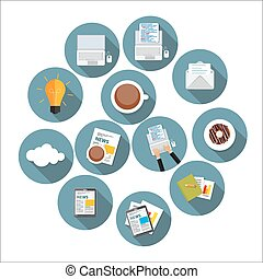 Modern Flat Design Icon Set for your Business Vector Illustration