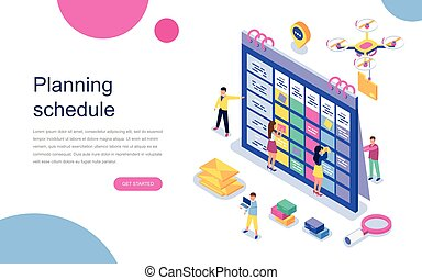 Modern flat design isometric concept of Planning Schedule for banner and website. Landing page template.