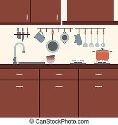 Modern Flat Design Kitchen Interior