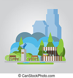 Modern flat design park illustration