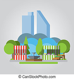 Modern flat design park illustration