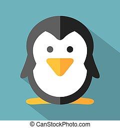 Modern Flat Design Penguin Icon.