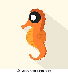Modern Flat Design Seahorse Icon Vector Illustration