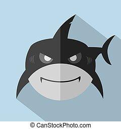 Modern Flat Design Shark Icon Vector Illustration
