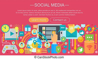 Modern flat design Social media concept. Social media icons Website Header, app design poster. Digital marketing Infographics template. Vector illustration.