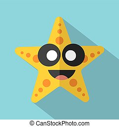 Modern Flat Design Starfish Icon Vector Illustration