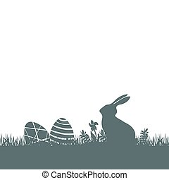Modern flat design with Easter rabbit silhouette and eggs