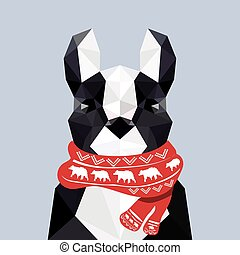 Modern flat design with origami french bulldog wearing...
