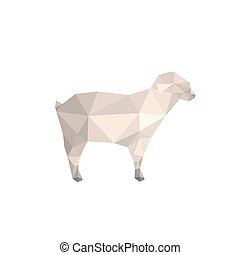 Modern flat design with origami lamb