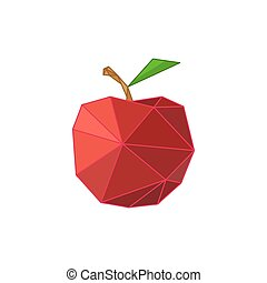 Modern flat design with origami red apple
