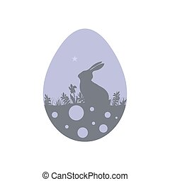 Modern flat design with rabbit silhouette on Easter egg