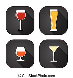 Modern Flat Dink Glass Icon Set for Web and Mobile...