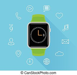 Modern flat green smartwatch with app icons on blue background