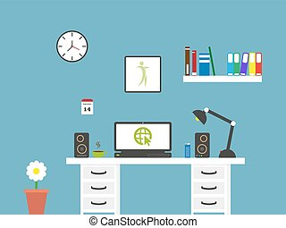 modern flat home office workspace interior . Minimalistic style design business vector background