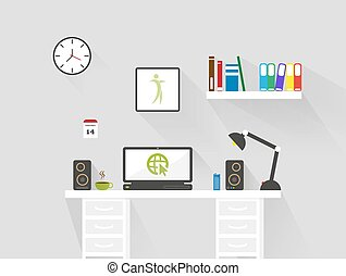 modern flat home office workspace interior . Minimalistic style design long shadown business vector background
