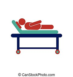Modern flat icon on white background patient in hospital bed