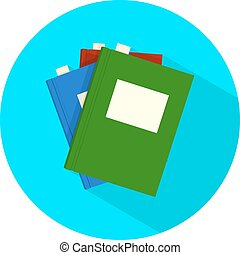 Modern flat icon vector books with long shadow effect in stylish colors of web design. Isolated on white background.
