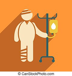 Modern flat icon with long shadow injured patient