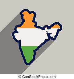 Modern flat icon with long shadow map of India