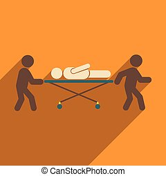 Modern flat icon with long shadow patient on stretcher