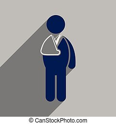 Modern flat icon with long shadow patient with broken arm