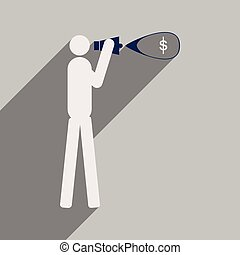 Modern flat icon with shadow man megaphone money
