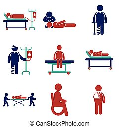Modern flat icons collection on white background patients
