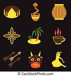 Modern flat icons collection with Black background Indian icons