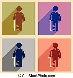 Modern flat icons collection with long shadow People leg ...