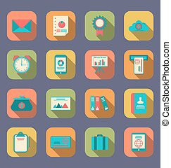 Modern flat icons of web design objects, business, office and marketing items, long shadow style