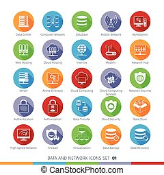 Modern Flat Icons Set 01 - Modern Flat Data and Networks...