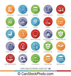 Modern Flat Icons Set 01 - Modern Flat Data and Networks...