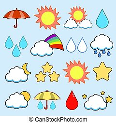 Modern flat icons vector collection. color image weather theme. Isolated on blue background. Vector illustration. EPS