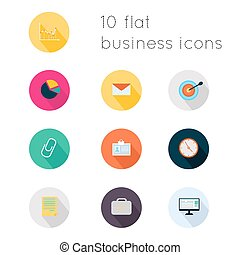 Modern flat icons vector collection with long shadow effect in stylish colors of business theme. Isolated on white background.