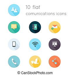 Modern flat icons vector collection with long shadow effect in stylish colors of communications theme. Isolated on white background.