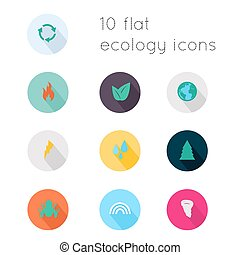 Modern flat icons vector collection with long shadow effect in stylish colors of ecology theme. Isolated on white background.