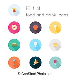 Modern flat icons vector collection with long shadow effect in stylish colors of food and drink theme. Isolated on white background.