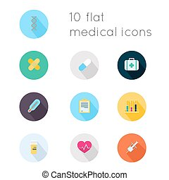 Modern flat icons vector collection with long shadow effect in stylish colors of medical theme. Isolated on white background.