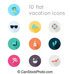 Modern flat icons vector collection with long shadow effect in stylish colors of vacation theme. Isolated on white background.
