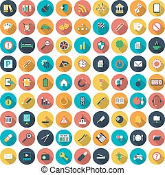 Modern flat icons vector collection with long shadow effect in stylish colors of web design objects, business, office and marketing items. Vector illustration
