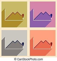 Modern flat icons vector collection with shadow falling economy graph
