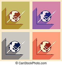 Modern flat icons vector collection with shadow globe and graph